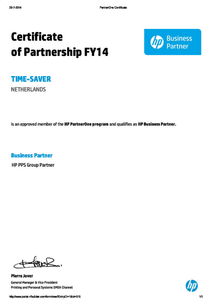 PartnerOne Certificate